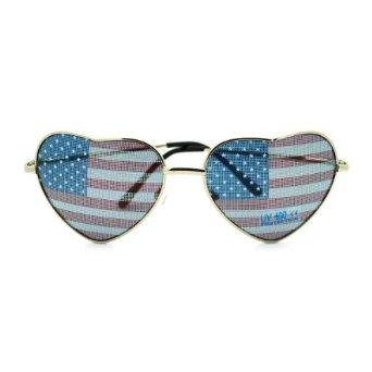 Amazon.com: Patriotic American Flag In-Print Heart Shaped Wire Rim Sunglasses: Clothing