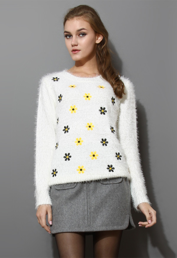 sweater daisy floral fluffy