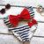 Sailor's Girl Navy Striped Red Bow Bandeau Bikini on Wanelo