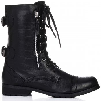 Buy PRIMAL Flat Lace Up Ankle Biker Boots Black Leather Style Online