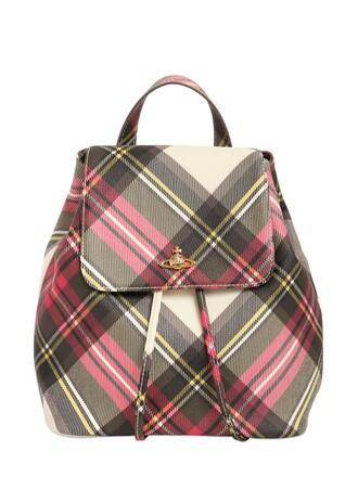 plaid backpack leather backpack leather print new bag