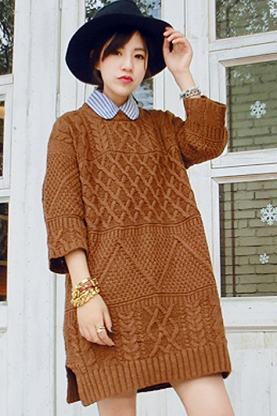 Street-chic Cable Tunic Sweater - OASAP.com