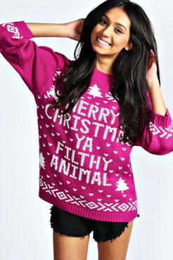 Hiba Merry Christmas Ya Filthy Animal Jumper at boohoo.com