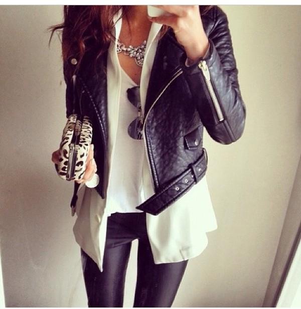 jacket leather jacket leggings