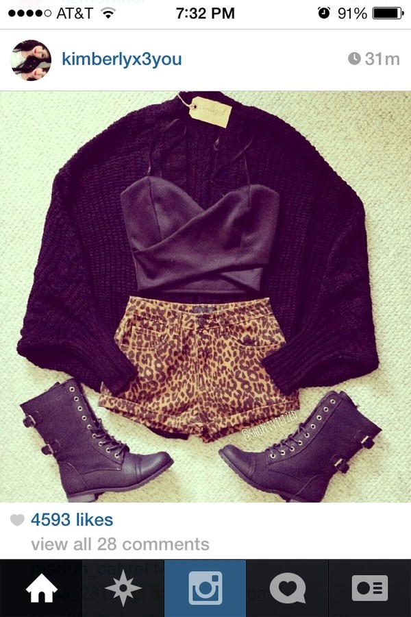 shorts leopard print High waisted shorts instagram black combat boots black cardigan shirt sweater shoes