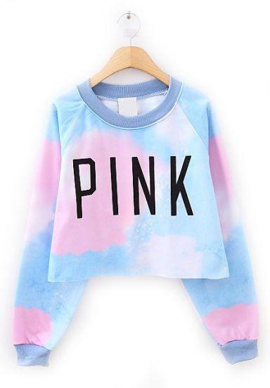 Blue Long Sleeve PINK Print Crop Sweatshirt