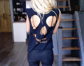 t-shirt blogger black girl tête de mort skull back