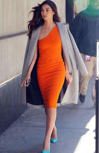 dress one shoulder orange dress lily aldridge model off-duty pumps coat spring outfits victoria beckham dress