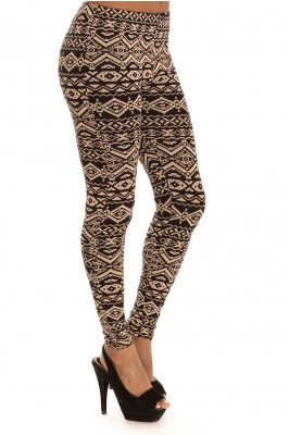 Aztec print leggings stone - Bottoms