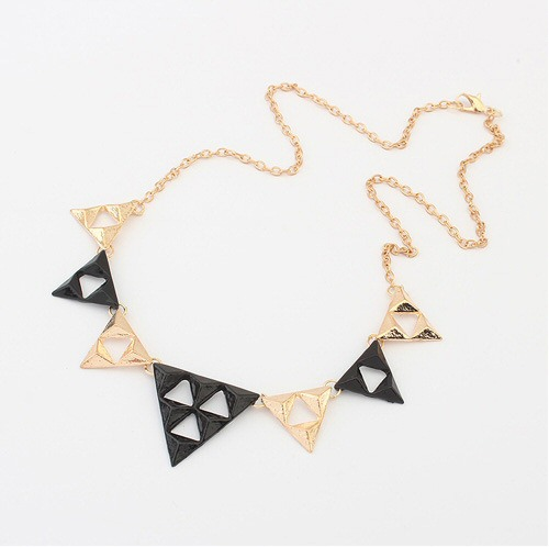 Triangles Alloy Black and Gold Bib Necklace | eBay