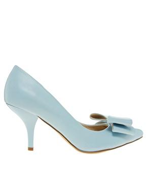 Faith | Faith Crobon Mid Heel Bow Blue Court Shoes at ASOS