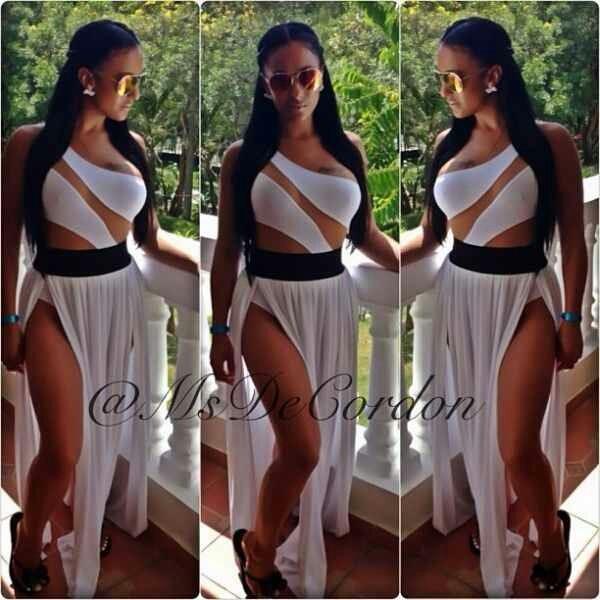 blouse skirt dress cover up swimwear side split maxi dress white dress black and white dress summer beach