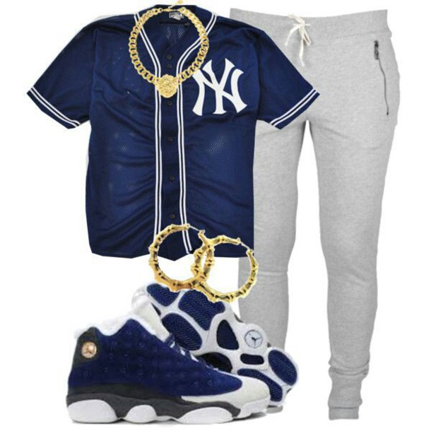 shoes baseball jersey new york city sweats gold chain jeans shirt jewels urban