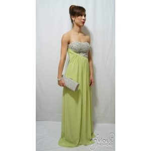 LEXI | Strapless Lime Green Evening Dress