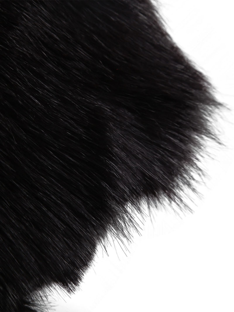 Black Sleeveless Faux Fur Vest - Sheinside.com