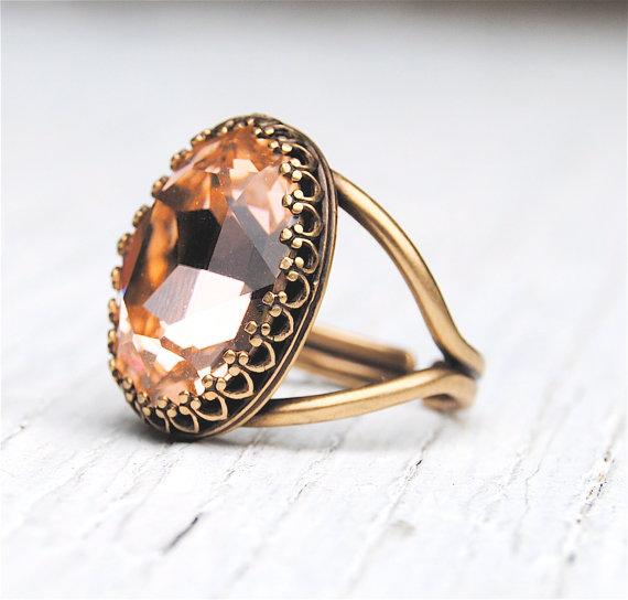 Peach Crystal Cocktail Ring Crown Ring Swarovski by MASHUGANA