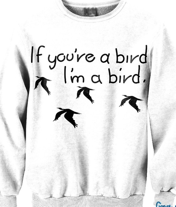 sweater white birds