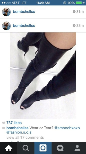 shoes over the knee boots black over the knee boots over the knee boots peep toe boots