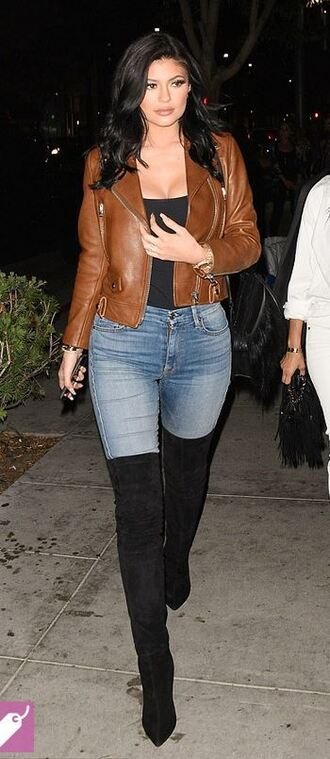 jacket top biker jacket boots over the knee knee high boots jeans kylie jenner shoes