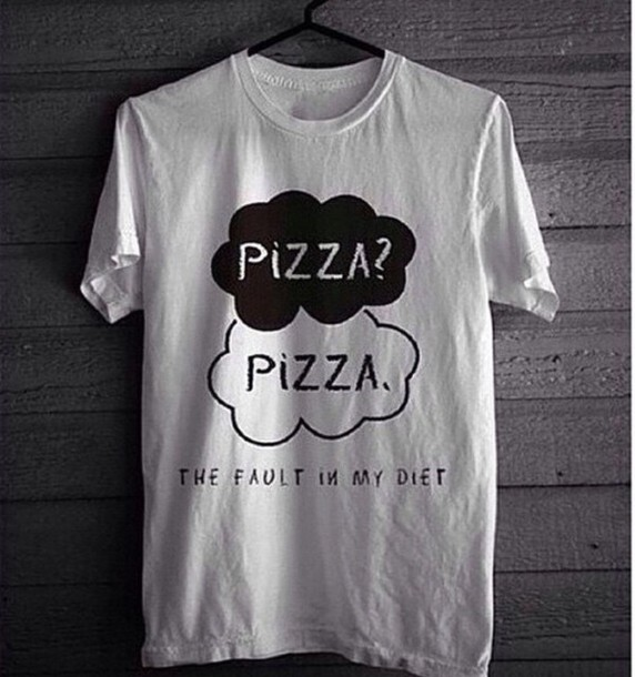 t-shirt white t-shirt pizza the fault in our stars pizza ? pizza. women femme nos ?toile contraires