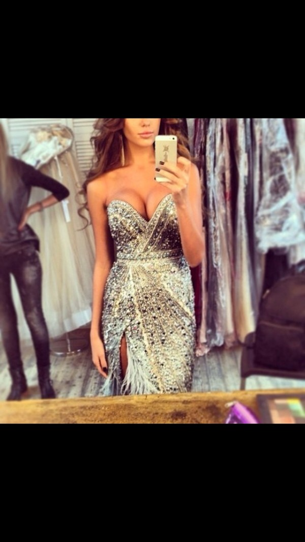 dress sparkly dress prom pageant feathers extravagant prom dress glitter prom dress ball gown dress sparkle jewelry gold and silver prom dresss