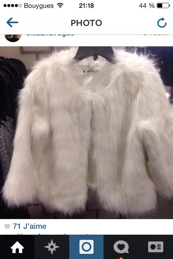 coat miley cyrus faux fur coat white coat perf perfect