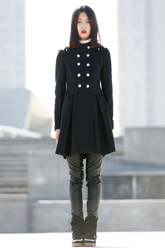 Black coat double breasted wool CoatCF073 by YL1dress on Etsy