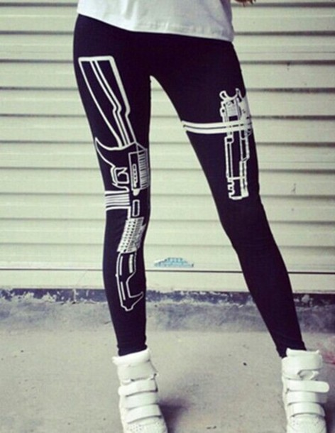 black leggings black and white gun trill swag dope style hot cool clothes jeans holster sneakers fashion leggings gun print black dope wishlist urban pistol gun print tumblr tights white cute new revolver bag shoes 556 762 ar-15 ak-47 9mm hand gun firearm holdster straped velcro high tops spikes white tee white t-shirt bracelets gold