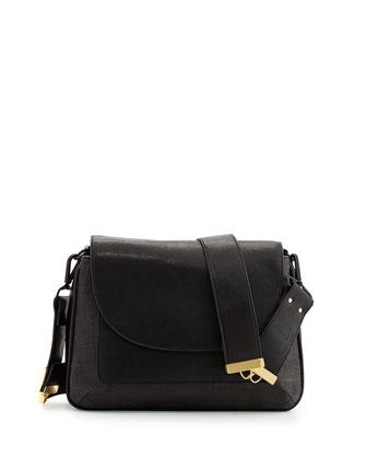 French Connection Mod Squad Faux Leather Shoulder Bag, Black