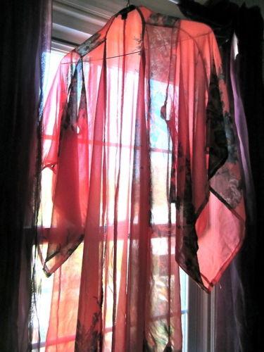 Sheer See Through Red Gray Floral Robe Chiffon Kimono Small Petite Forever 21   eBay