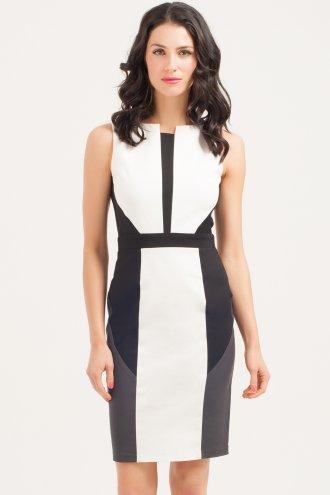 Little Mistress White/Black/Grey Colour Block Dress