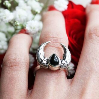jewels shop dixi sterling silver onyx ring crescent moon claw boho goth grunge
