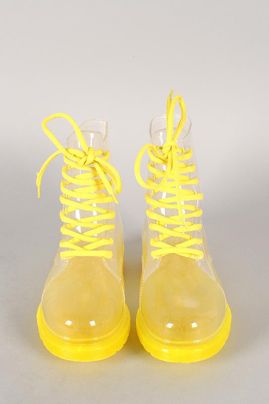 Luann-12 Jelly Lace Up Rain Boot