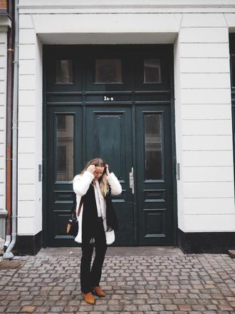 emilysalomon blogger coat sweater jeans scarf shoes bag fur coat white fur coat winter outfits
