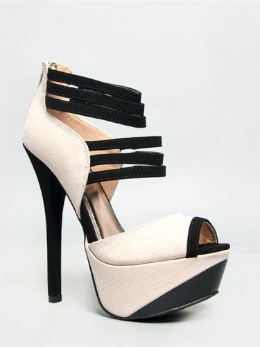 New Qupid Women Strappy Peeptoe Two Tone Heel Sandals Beige Stone Snake COUNT32 | eBay