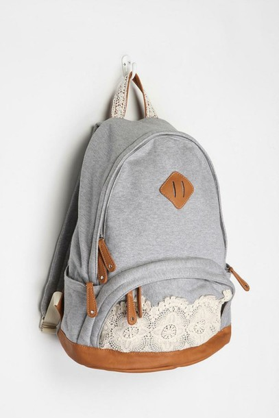 bag backpack accessories grey backpacker herrschen cutee lace grey white