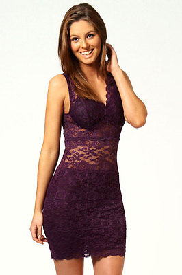 Womens Mini Dress Club Wear Party Evening Purple Allover Floral Lace 8 10 12 | eBay