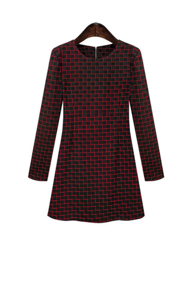 New Western Skinny Plaids All-match Long Sleeve Dress,Cheap in Wendybox.com