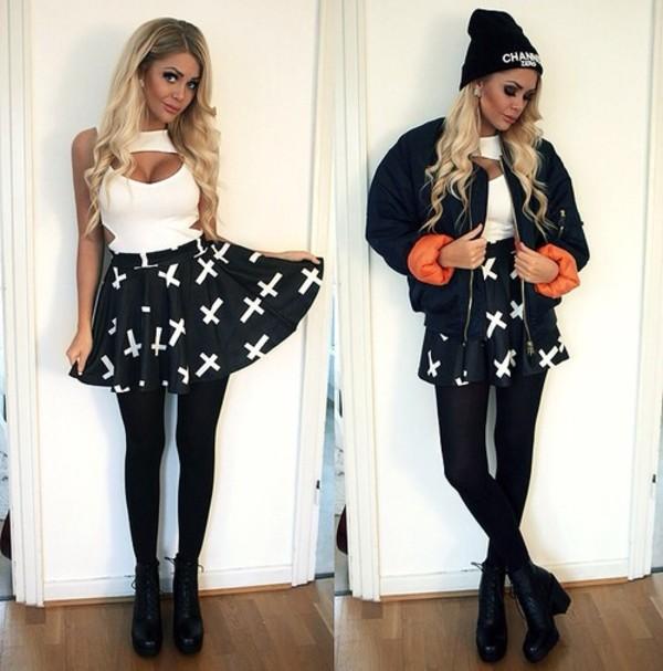 tank top skirt underwear shoes hat jacket