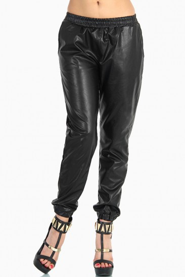 LoveMelrose.com From Harry & Molly   Baggy Leather Pants - Black