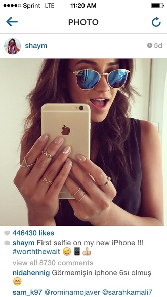 sunglasses shay mitchell blue jewels anarchy street jewelry shay mitchell jewelry x ring ring infinity celebrity style celebrity