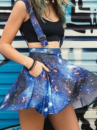 skirt blue galaxy print overall skirt romper dress skirt with suspenders suspenders skater skirt jumpsuit