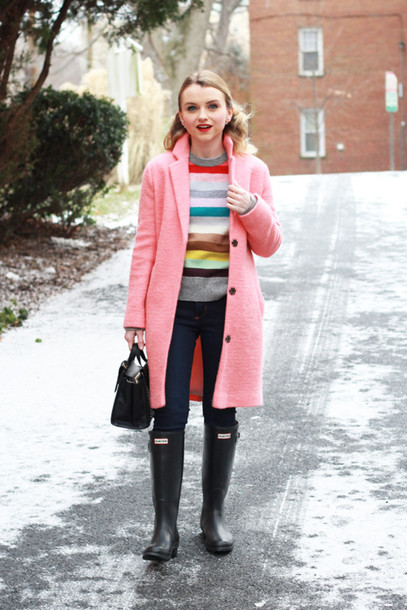 poor little it girl blogger pink coat striped sweater wellies