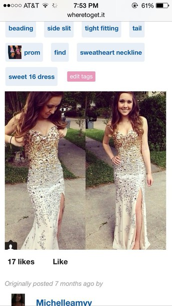 dress jovani gold silver white slit dress
