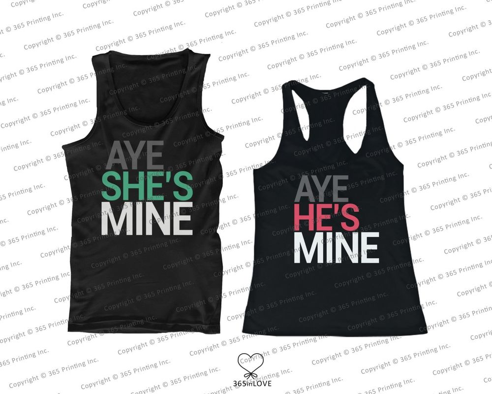 His and Her Couples Matching Tank Tops Aye He's She's Mine Sleeveless Tops | eBay