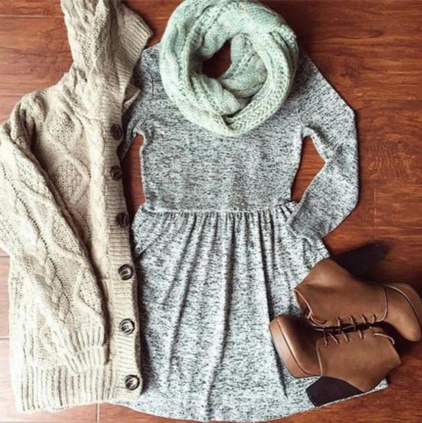 dress winter dress grey