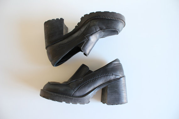 Well-known Size 7 Chunky Platform Shoes Leather Slip Ons Heels Platform  GK12