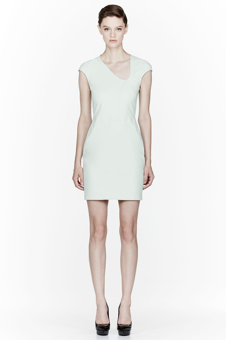 mugler seafoam green leather dress