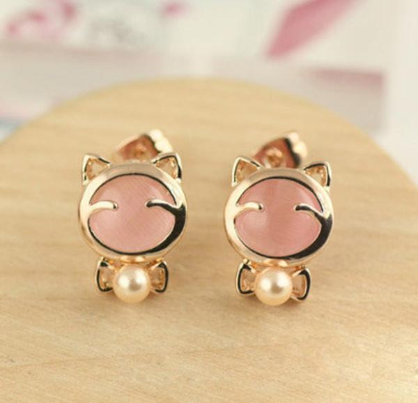 jewels earrings asian asian earringsd asian earrings korean earrings korean fashion korean fashion cute earrings cats cat earrings kawaii gwiyomi