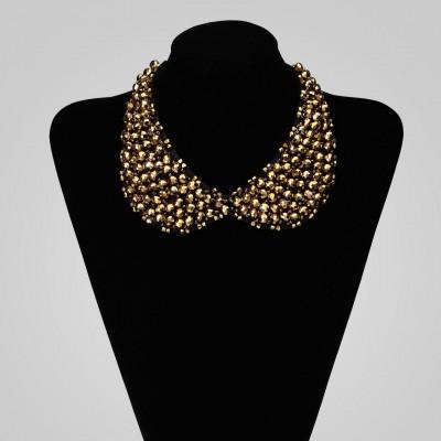 Beaded Peter Pan Collar Necklace Crystal Choker Necklace Gold